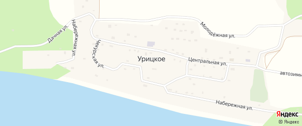 Дачная улица на карте Урицкого села Якутии с номерами домов