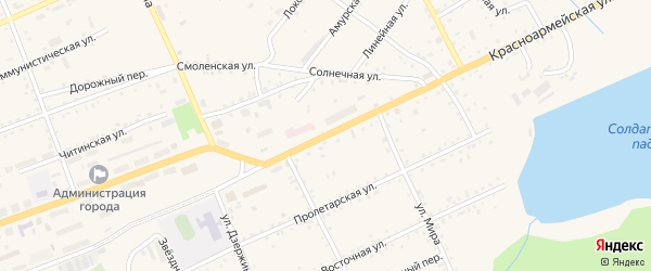Красноармейская улица на карте Сковородино с номерами домов