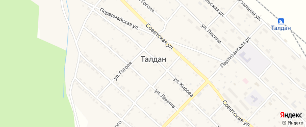 Школьный переулок на карте села Талдана с номерами домов