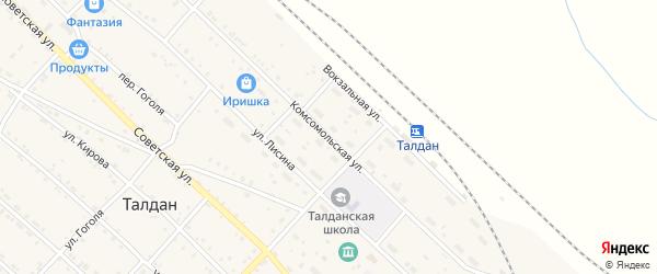 Комсомольская улица на карте села Талдана с номерами домов