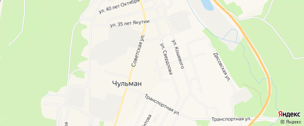 1-й микрорайон на карте поселка Чульман с номерами домов