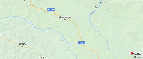 Карта Магдагачинского района Амурской области с городами и населенными пунктами