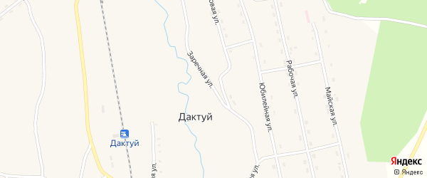 Заречная улица на карте села Дактуя с номерами домов