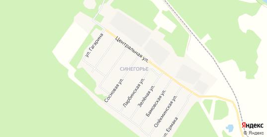 Карта микрорайона Синегорье в Томмоте с улицами, домами и почтовыми отделениями со спутника онлайн