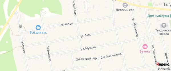 Улица Лазо на карте села Тыгды с номерами домов