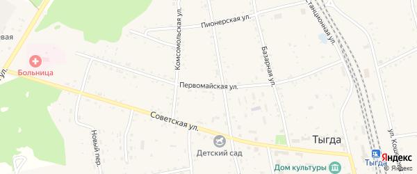 Первомайская улица на карте села Тыгды Амурской области с номерами домов