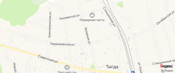 Базарная улица на карте села Тыгды Амурской области с номерами домов
