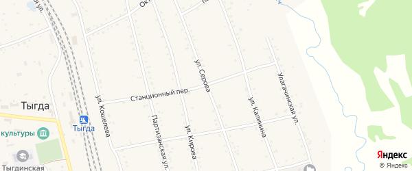 Улица Серова на карте села Тыгды с номерами домов