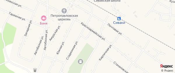 Кривой переулок на карте поселка Сиваки с номерами домов