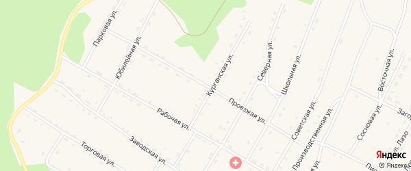 Проезжая улица на карте поселка Сиваки Амурской области с номерами домов