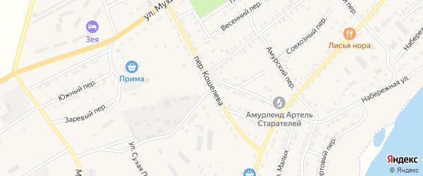 Переулок Кошелева на карте Зеи с номерами домов