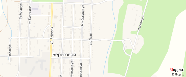 Улица Лазо на карте Берегового поселка с номерами домов