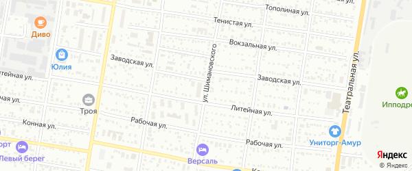 Улица Шимановского на карте Благовещенска с номерами домов