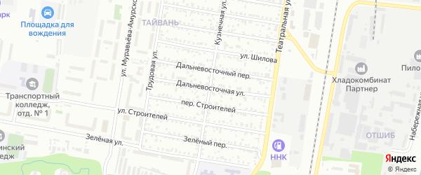 Дальневосточная улица на карте Благовещенска с номерами домов