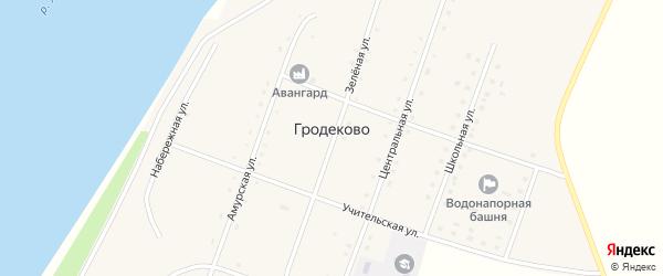 Учительская улица на карте села Гродеково с номерами домов