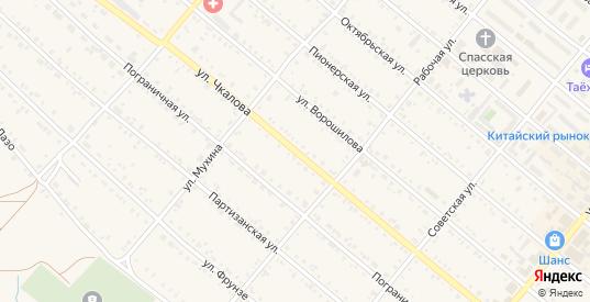 Улица Чкалова в Шимановске с номерами домов на карте. Спутник и схема онлайн