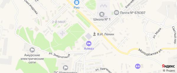 Микрорайон 2 ПУ-3 на карте Шимановска с номерами домов