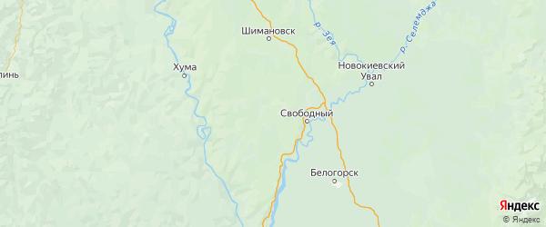 Карта Свободненского района Амурской области с городами и населенными пунктами