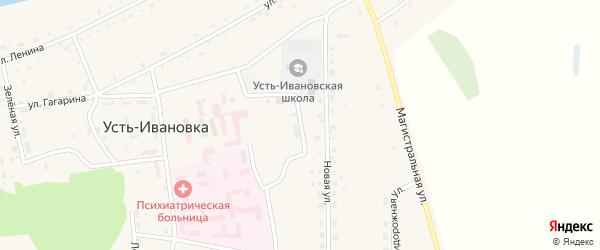 Школьный переулок на карте села Усть-Ивановки Амурской области с номерами домов