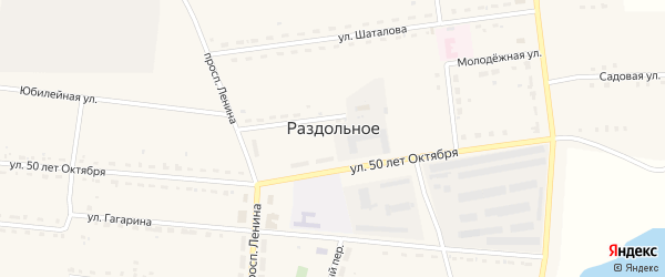 Улица 50 лет Октября на карте Раздольного села с номерами домов