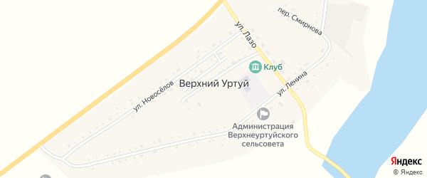 Зеленый переулок на карте села Верхнего Уртуя с номерами домов