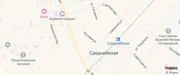 Луговая улица на карте села Среднебелой с номерами домов