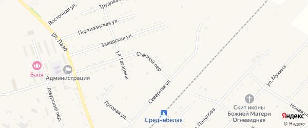 Степной переулок на карте села Среднебелой с номерами домов