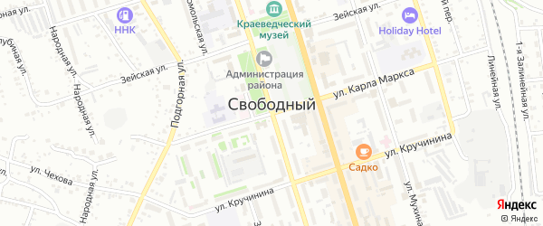 Переулок Чайковского на карте Свободного с номерами домов