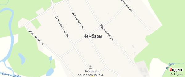 Школьная улица на карте села Чембары с номерами домов