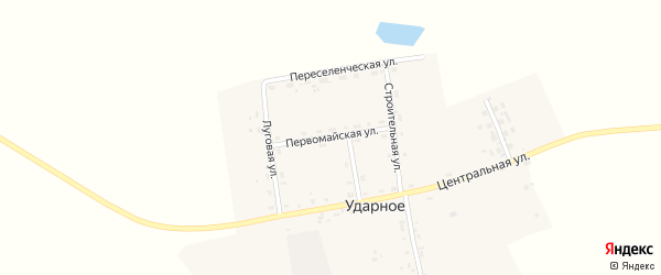 Первомайская улица на карте Ударного села с номерами домов