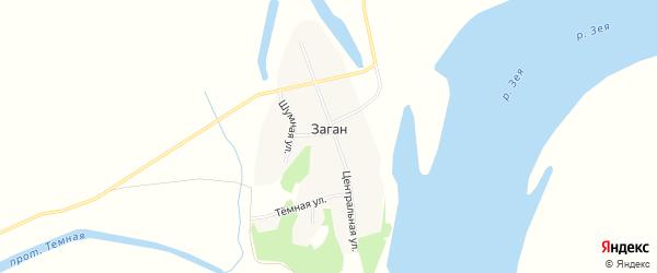 Карта села Загана в Амурской области с улицами и номерами домов