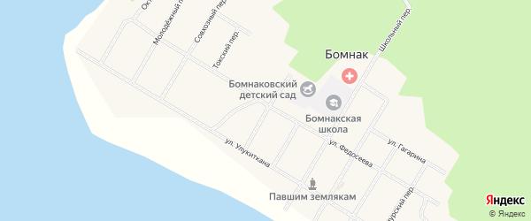 Набережный переулок на карте села Бомнака Амурской области с номерами домов
