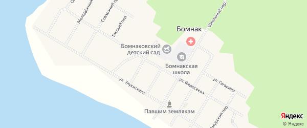 Улица Федосеева на карте села Бомнака Амурской области с номерами домов