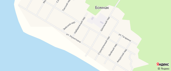 Лесной переулок на карте села Бомнака Амурской области с номерами домов