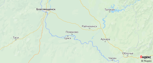 Карта Михайловского района Амурской области с населенными пунктами и городами