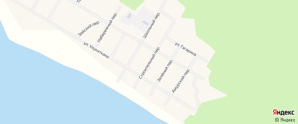 Строительный переулок на карте села Бомнака Амурской области с номерами домов