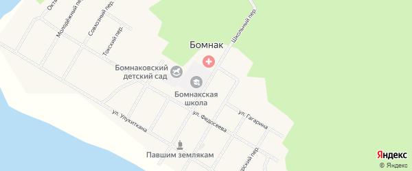 Школьный переулок на карте села Бомнака Амурской области с номерами домов