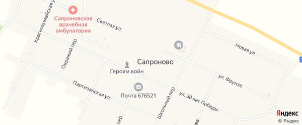 Первомайский переулок на карте села Сапроново с номерами домов