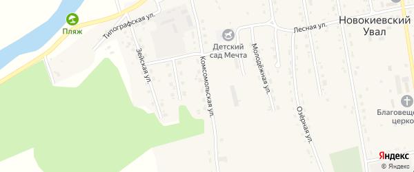 Комсомольская улица на карте села Новокиевского Увала Амурской области с номерами домов