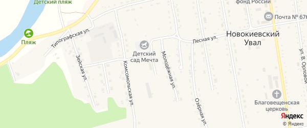Амурский переулок на карте села Новокиевского Увала Амурской области с номерами домов