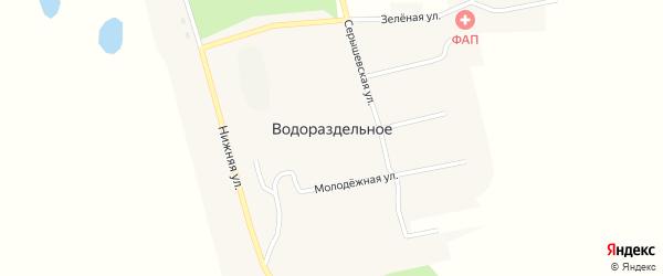 Серышевская улица на карте Водораздельного села с номерами домов