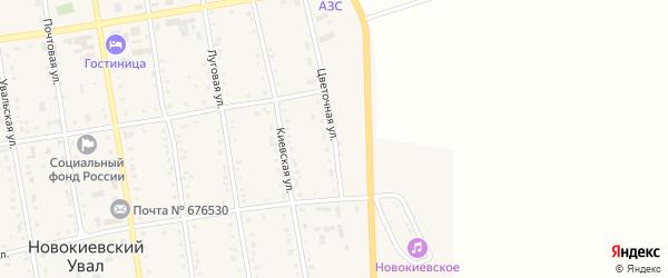 Цветочная улица на карте села Новокиевского Увала Амурской области с номерами домов