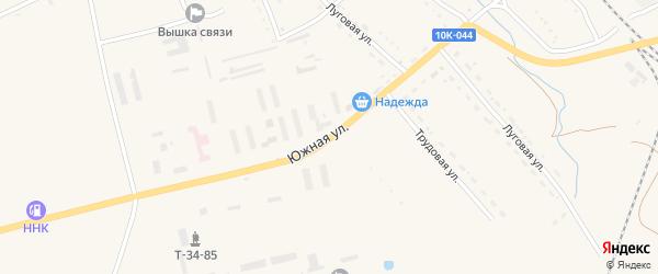 Южная улица на карте села Екатеринославки с номерами домов