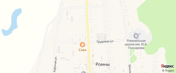 Советская улица на карте села Ромен с номерами домов