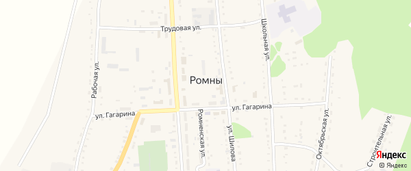 Кооперативный переулок на карте села Ромен Амурской области с номерами домов