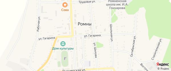 Улица Гагарина на карте села Ромен Амурской области с номерами домов