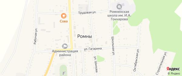 Переселенческая улица на карте села Ромен с номерами домов