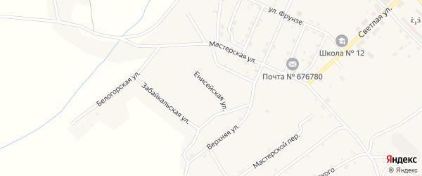Енисейская улица на карте поселка Новорайчихинска с номерами домов
