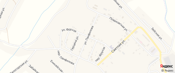 Улица Фрунзе на карте поселка Новорайчихинска с номерами домов