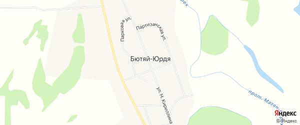 Карта села Бютяя-Юрдя в Якутии с улицами и номерами домов